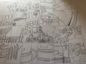 Drawing of part of scenery on a page.