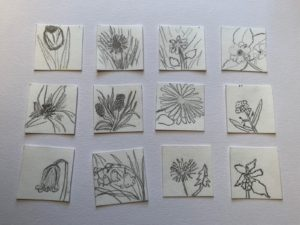 Small drawings arranged on a page