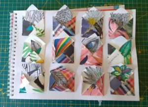 a series of paper pieces of art in a scrapbook