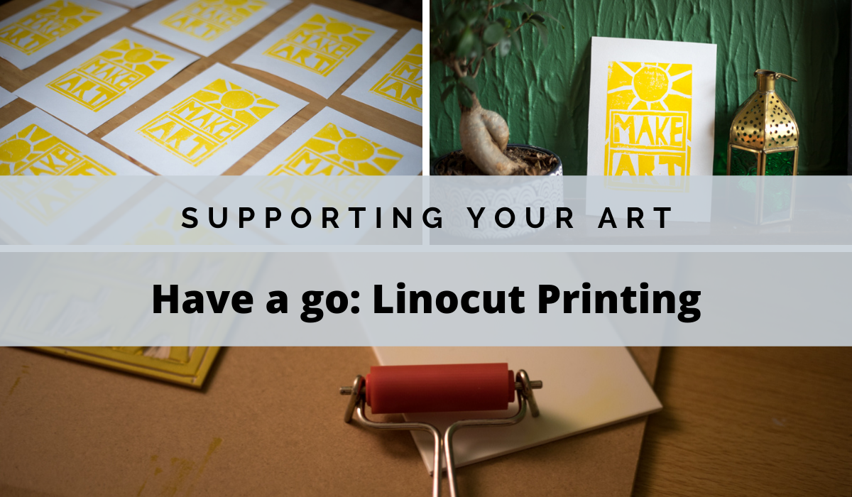 Lino cut post banner
